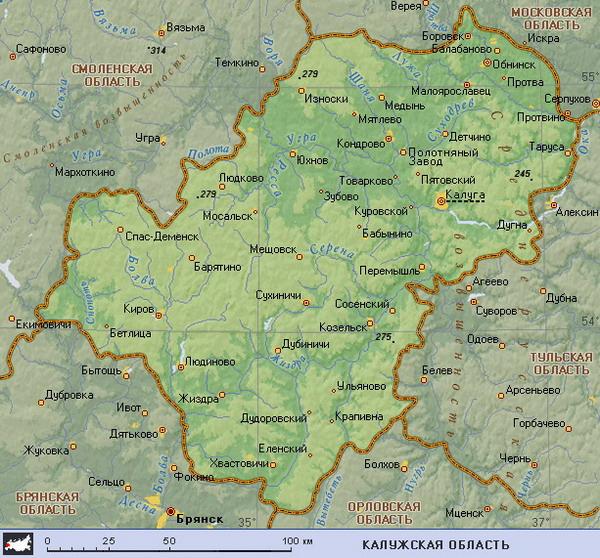 Подробная карта Калужской