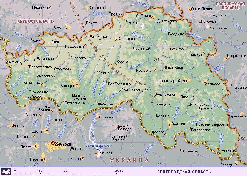 Подробная карта Белгородской