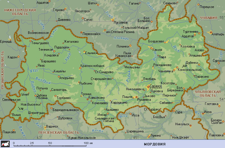 подробная карта Мордовии