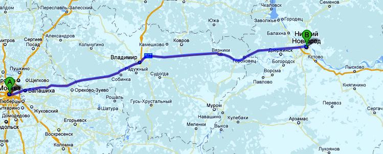 Карта маршрута из Москвы в