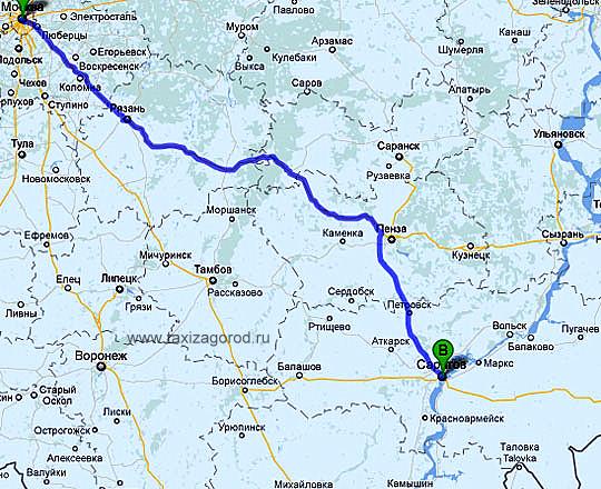 Москва-Пенза-Саратов,такси