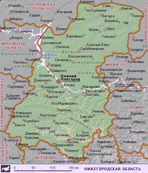 Подробная карта Нижегородской