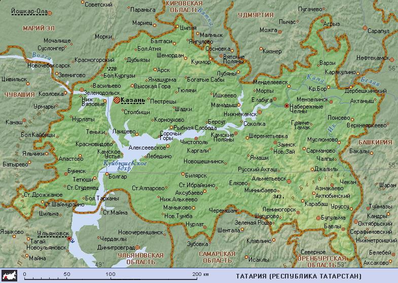 Подробная карта Татарии:
